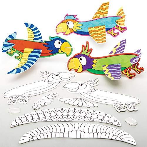 Baker Ross Inkleurbare Zwevende Papegaaien (10 stuks) Knutselspullen en Knutselsets voor Kinderen