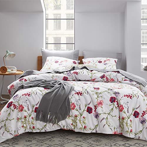 Preisvergleich Produktbild Bedsure Bettwäsche 135X200 Mikrofaser 2 teilig - Bettbezug Set mit schickem Floral Muster,  weiche Flauschige Bettbezüge mit Reißverschluss und 1 mal 80x80cm Kissenbezug