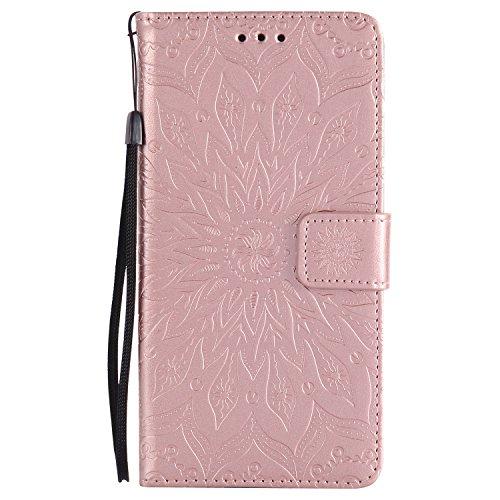 Lomogo LG V10 Hülle Leder Blumenprägung, Schutzhülle Brieftasche mit Kartenfach Klappbar Magnetverschluss Stoßfest Kratzfest Handyhülle Case für LG V10 (H960A) - KATU22788 Rosa Gold