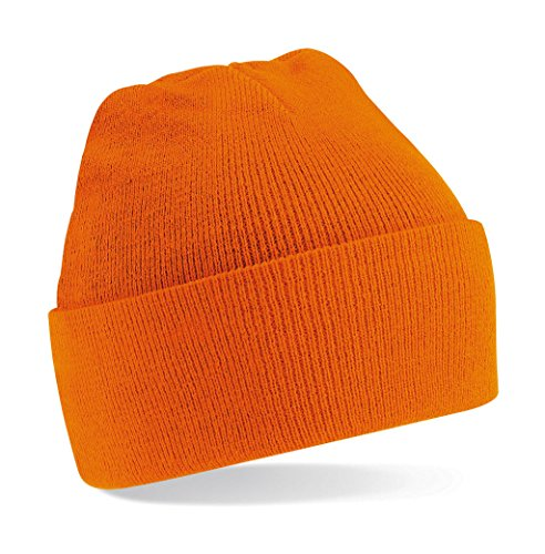 Beechfield Turn-up Beanie Casquette de Baseball, Orange, Taille Unique Homme