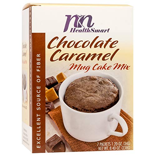 HealthSmart - Chocolate Caramel Mug Cake Mix - 7 Individual Servings - Ready in under a Minute - High Protein 15g - Low Calorie - High Fiber - Low Sugar - Gluten Free