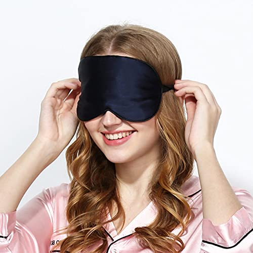 Schwarze Schlafmaske zum Schlafen Seidenaugenmaske Schlaf Augenbinde Maulbeerseide Lidschatten Augenabdeckung Verband Glatte Ruhehilfe,Marineblau