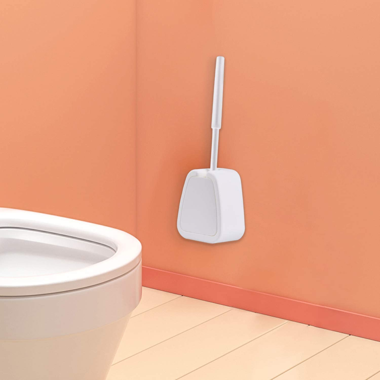 White Polypropylene Strong Bristle Brush for Easy Cleaning Wall Mountable//Floor Standing Toilet Bowl Scrubbing Brush Toilet Brush and Holder Set