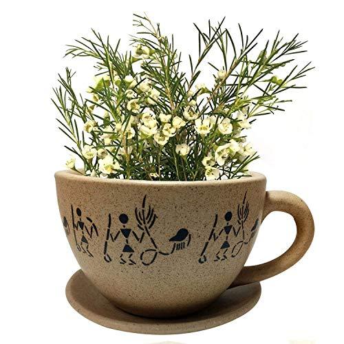 Vase de Fleurs en céramique Fait à la Main en Forme de Tasse et Assiette, vases de créateur en Pot de Fleurs en céramique et Pot de Fleurs en Pot de Fleurs