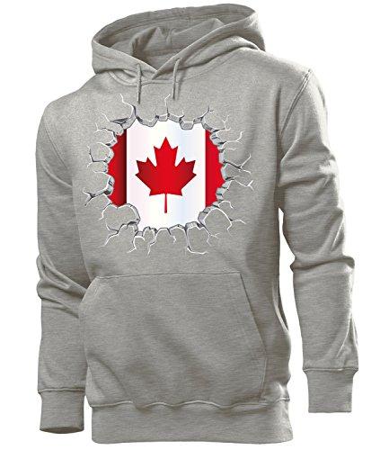 love-all-my-shirts Fussball Fanhoodie Kanada 5677 Männer Herren Hoodie Pulli Kapuzen Pullover Fanartikel Grau M