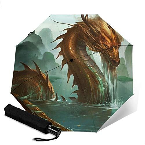 Dragon,Folding Umbrella, Windproof, UV Protection, Compact Umbrella for Travel, Daily Use