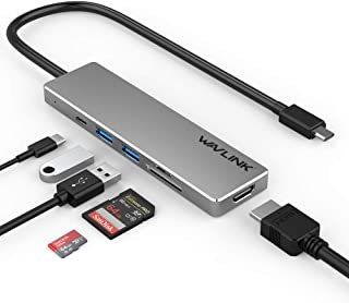 WAVLINK USB C Hub Multiport Adapter,Portable Aluminum Dongle with 4K HDMI Display,100W Power Delivery,2 USB 3.0 Ports, SD/...