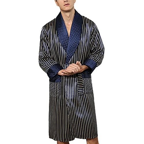 Hombre Bata Seda 100% Albornoz Largo Bata de Baño Ropa de Dormir Casual Kimono,para Piscina Sauna SPA Hotel Party,Azul,XL