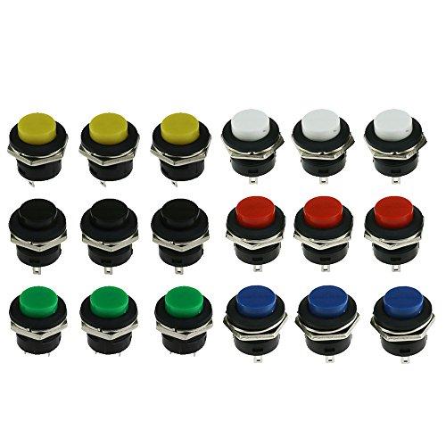 WayinTop 20 St/ücke Mini Momentary Push Button Schalter 16mm Momentanen Druckschalter 3A AC250V//6A AC125V Drucktastenschalter Ein-Aus Taster Rund Rot Drucktaster f/ür Arduino//Raspberry Pi//DIY