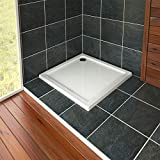 Nuie Bathroom 800 x 800mm <span class='highlight'>Shower</span> <span class='highlight'>Tray</span> Gloss White Slimline 40mm Stone Resin <span class='highlight'>Square</span> Base with Free Waste Trap Kit