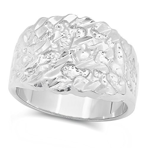 The Bling Factory Rhodium Plated Nugget Ring, Size 12 + Microfiber