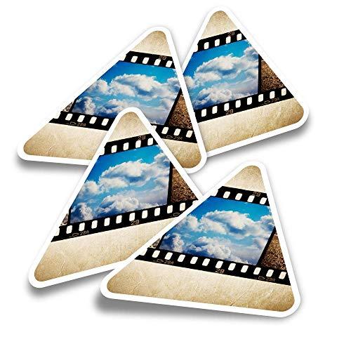Pegatinas triangulares de vinilo (juego de 4) – 35 mm Film Camera Photography Fun Calcomanías para ordenadores portátiles, tabletas, equipaje, reserva de chatarra, neveras #16095