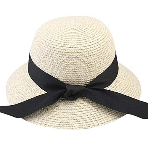 N\A Sombrero de verano para mujer, sombrero de playa, sombrero de paja Panamá Fedora sombrero de ala ancha - Protección UV Señoras M sombrero de verano beige