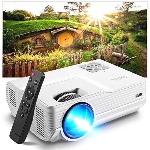 Iolieo Mini Projector, 2021 Upgraded Portable Video-Projector,Full HD 1080P and 200'' Supported,55000 Hours Multimedia Home Theater Movie Projector,Compatible with HDMI,USB,VGA,AV,Laptop,Smartphone