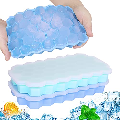 Ice Cube Trays, 2 Pack Small Silicone Ice Cube Molds with Lids, Easy-Release and Flexible 74-Ice Trays BPA Free, for Whiskey Cocktail, Stackable Durable Safe Ice Cube Molds, Dishwasher Safe