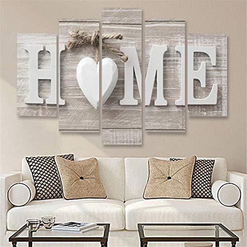 Liwei 5 Piezas de Arte de la Lona Impresión Amor Inicio sin Marco Cuadros de la Pared for el hogar Salón Dormitorio Decoración, Tamaño: 20x35cm x2,20x45cm x2,20x55cm x1 Elegante