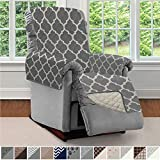 SOFA SHIELD Original Patent Pending Reversible Small Recliner Protector, Seat Width to 25 Inch, Furniture Slipcover, 2 Inch Strap, Reclining Chair Slip Cover Throw, Recliner, Quatrefoil Charcoal Linen