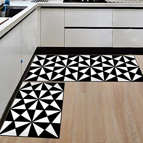 Ommda Tappeti Cucina Lavabile Antiscivolo Moderno in Bianco e Nero Stampa Tappeto da Cucina Gommato 6mm 50x160cm