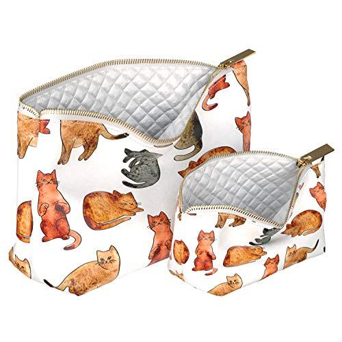 Wonder Wild 2 Pac Handmade Makeup Bags Waterproof Cosmetic Handbag Mini Portemonnaie Travel Organizer with Metal Zipper for Women Girl Lady Cute Animal Watercolor Redhead Cats Pattern Girly Clew Gray