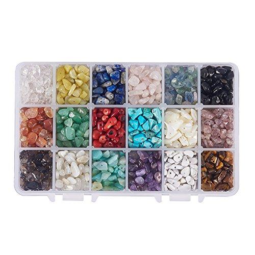 NBEADS 1 Box mit 18 Farben Chip Edelstein Perlen 4-8mm Natürliche Unregelmäßige Nugget Lose Perlen Energie Stein für Schmuck
