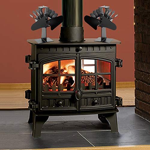 CHUANGE ventilador de estufa de leña silencioso de 2 palas negro ...