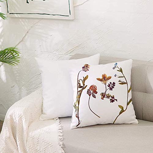 Cushion Covers 20x 20 inch Soft Polyester,Flower Decor,Book Dried Cute Flowers Lilacs Daisies Tulips Leaves Garden Buds A,Square Throw Pillow Case for Living Room Sofa Couch Bed Pillowcases 50 x 50 cm