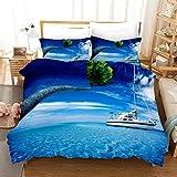 Funda nórdica Barco de Vela Azul 200x200cm con Cierre de Cremallera 3 Piezas de Ropa de Cama Microfibra Suave hipoalergénica con 2 Fundas de Almohada 50x75cm