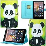 DodoBuy Hülle für Amazon Fire HD 8 2016/2017/2018, Magnetische Flip Smart Cover PU Leder Schutzhülle Tasche Brieftasche Wallet Hülle Ständer mit Kartenfächer - Panda