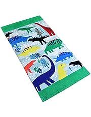 Baogaier Toalla de Playa, Toalla de Baño Personalizada Dinosaurio Verde, 80 x 160cm Algdón Grande Toalla de Deportes Manta de Playa para Infantil Niños Adultos Natacion Surf Regalo Vacaciones e Viajar