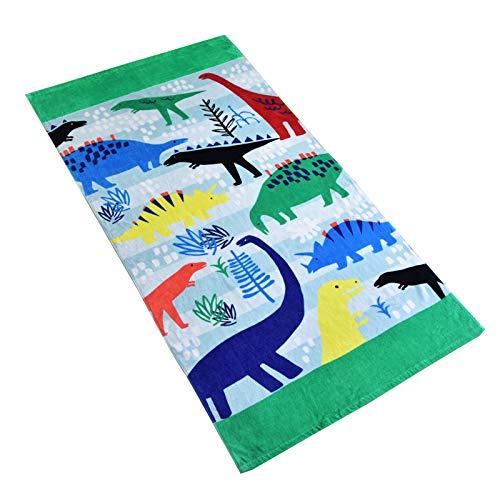 Baogaier Strandtuch für Kinder und Erwachsene groß - 80 X 160cm 100% Baumwolle Dinosaurier Cartoon-Muster Grün Badetuch für Reise Strand Geschenk
