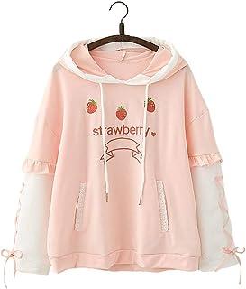 Linda Ulzzang Chicas' Moda Dulce Fresa Fruta Diseño Rosado Capucha Cinta Diseño Verano Confortable Largo Mangas Pull-Over