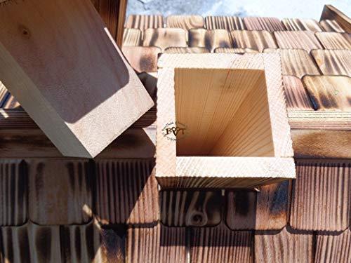Vogelhaus-futterhaus, BTV-X-VOVIL4-dbraun001 NEU PREMIUM Vogelhaus, Qualität Schreinerware 100% Massivholz – VOGELFUTTERHAUS MIT FUTTERSCHACHT-Futtersilo Futterstation Farbe braun dunkelbraun behandelt / lasiert schokobraun rustikal klassisch, MIT TIEFEM WETTERSCHUTZ-DACH für trockenes Futter - 5