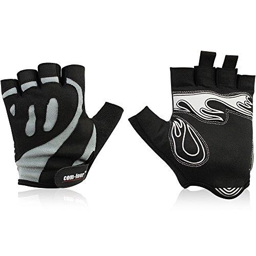 Wilhelm Sell® rutschfeste Sport-Handschuhe für Fitness-Training und Fahrrad-Touren, Halbfinger-Handschuhe für Rad und Bike, Damen und Herren, Unisex (1 Paar - Größe L schwarz/grau Flamme)