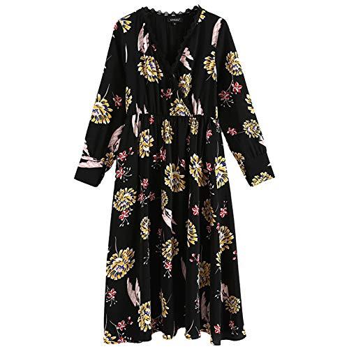 BINGQZ Kleid Schwarzes Kleid weibliche Herbst Neue Damen Damen Temperament Mode Lange Lange Ärmel Blumenrock