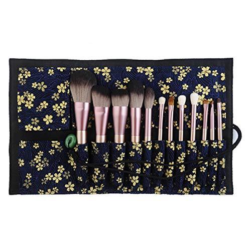 Pinceau De Maquillage, Pinceau À Paupières, Ensemble D'Outils De Maquillage De Vrais Cheveux, 12Pcs + Pack Bleu Sakura