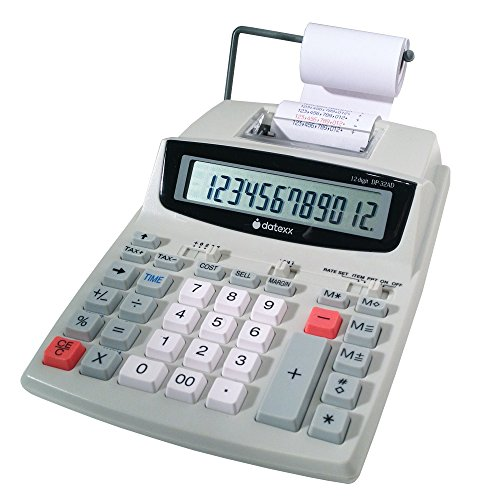 Datexx DP-32AD-RCPT 12 Digit 2 Color Printing Calculator with Quick Receipt, Time Stamp and Profit Feature