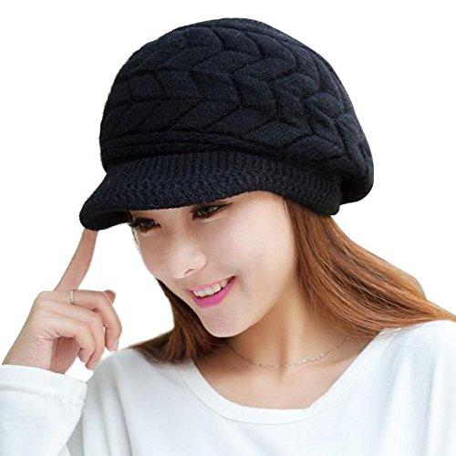 LULUZ Women's Knitted Hat Rabbit Fur Velvet Beanie Hat Ladies Winter Plus Warm Solid Color Baggy Hat Slouchy Hat with Visor Adorable Ski Cap Black