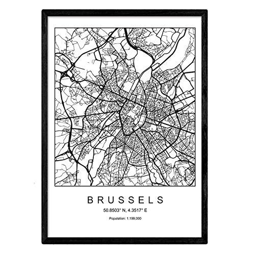 Nacnic Lámina Mapa de la Ciudad Brussels Estilo nordico en Blanco y Negro. Poster tamaño A3 Sin Marco Impreso Papel 250 gr. Cuadros, láminas y Posters para Salon y Dormitorio