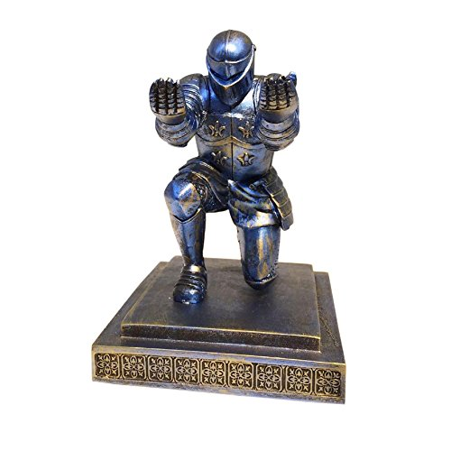 Ozzptuu Decorative Resin Executive Knight Pencil Holder Pen Stand Personalized Desk Organizer Accessories (Blue)