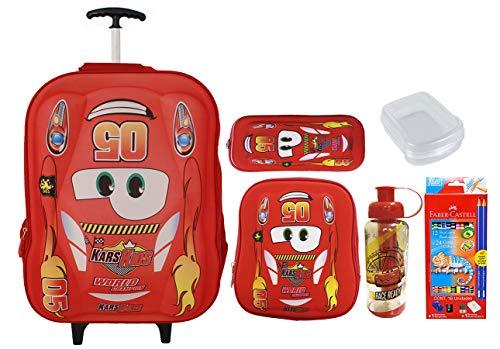 Mochila Rodinhas Escolar Infantil Carros 5005 + Kit Vermelho