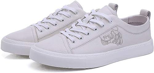 LXJL paniers Basses pour Hommes de Printemps, Chaussures de Chaussure en Cuir Tendance Décontracté Fashion pour Hommes,blanc,42