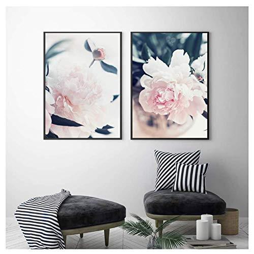 nr Salon roze pioenroos bloem muurkunst plant afdrukken en posters op canvas schilderijen schilderijen voor woonkamer decor-40x60cmx2 frameloos