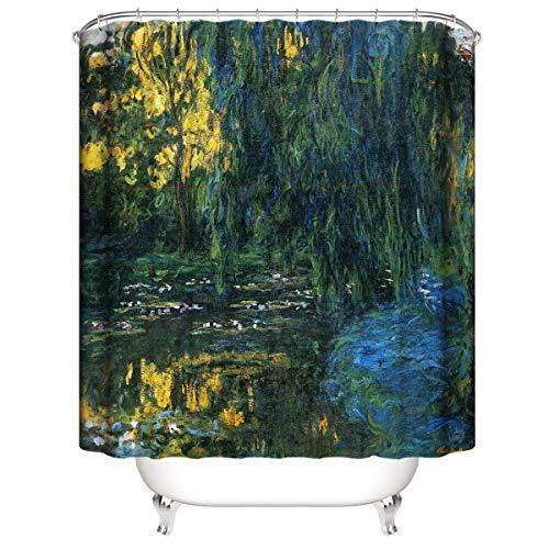 LLLTONG Duschvorhang Mehltau Kirschblüte Kirsche Duschvorhang, waschbarer dekorativer Duschvorhang, wasserdichter Ölgemälde gelbgrüner Baum