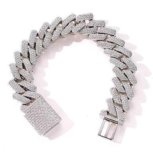 Fantex 20mm Iced Out 5A CZ Diamonds Miami Cuban Link Chain 14k White Gold Plated Bracelet with Box Clasp, Jewelry for Men & Women (White, 8)