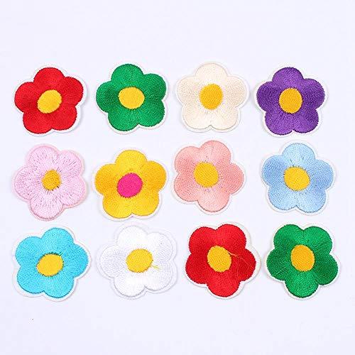 HL-PYL 20pcs / Lot Mix 10 Farben Kleine Blumen-Flecken-Eisen auf Stickerei Miniblumenaufkleber DIY Jeans Taschen Sheets Appliques Garment Abzeichen,mischen 10 Farben