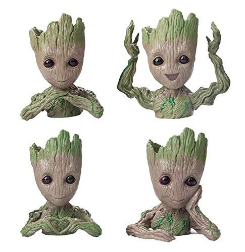 "4 Pack Baby Groot Flower Pot Tree Man Maceta Maceta Con Orificio De Drenaje Portalápices, Diligence Office Party Ornament Christmas Birthday Gift Planter 6"""