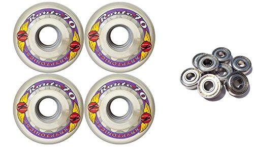 TGM Skateboards KRYPTONICS Route 70MM 78A Clear Longboard Skate Wheels + ABEC 9 Bearings