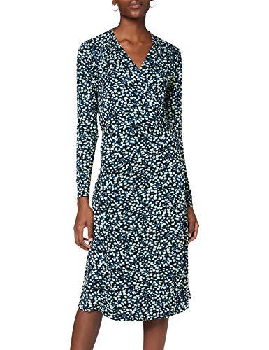 Noa Noa Damen Printed Jersey Dress Short Sleeve,Below Knee Lässiges Kleid, Blau, S