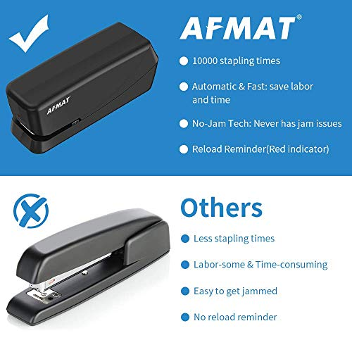 Electric Stapler, Heavy Duty Electric Stapler Desktop, 25 Sheets, Automatic Stapler for Desk, AC or Battery Stapler with Reload Reminder & Release Button, Black Photo #6