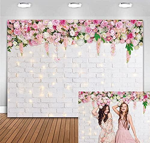 BINQOO Fondo de fotografía con tema de primavera de 7 x 5 pies Fondo de flores de pared de ladrillo blanco brillante para San Valentín Día de la madre Boda Nupcial Baby Shower Fiesta de cumpleaños